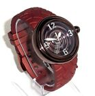 VON DUTCH $425 MENS BIG PLUM CRAZY STEEL SWISS WATCH, SAPPHIRE- TIRE TRACK STRAP