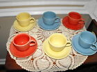 VINTAGE HOMER LAUGHLIN GENUINE FIESTA CUPS & SAUCERS (LOT OF 6)