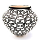 Native American Acoma Olla with Fine Line Pattern by Beverly Garcia