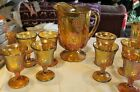 Vintage Gold Carnival Glass Footed Pitcher Embossed Grapes  Leaves 8 goblets