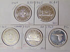 1964 1965 1966 1967 Canada Silver Dollars and 1967 Silver Confederation Medal