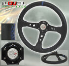 Drift/Drag/Timeattack 350mm Steering Wheel Black With Blue Stitching For Toyota
