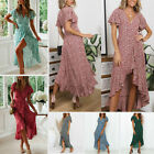 Women Boho Holiday Long Dresses Ladies Summer Beach Floral Maxi Dress Size 6-16