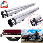 4 Megaphone Slip on Mufflers Exhaust Pipe Cap End For Harley Touring 1995 16