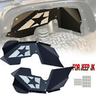 Black Solid Front Inner Fender Kit Steel For 07 18 Jeep Wrangler JK