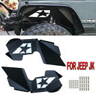 Black Solid Front Steel Inner Fender Kit 07 18 Jeep Wrangler JK JKU
