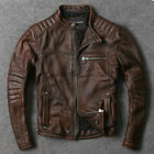 Mens Biker Vintage Cafe Racer Distressed Motorcycle Brown Real Leather Jacket