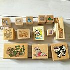 13 Misc Animal Rubber Wooden Stamps Various brands sizes Otter Cow Giraffe CL