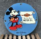VINTAGE SUNOCO MOTOR OIL PORCELAIN SIGN, PUMP PLATE, GAS, DISNEY, MICKEY MOUSE
