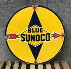 VINTAGE SUNOCO BLUE GASOLINE SIGN PORCELAIN GAS PUMP PLATE SERVICE STATION RUST