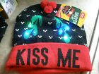 NEW Wembley Light Up Beanie KISS ME with MISTLETOES