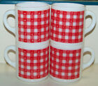 4 1960's Opaque White Milk Glass Red Plaid Gingham Coffee Cup Mugs