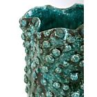 Crackled Texture Ceramic Vase with Wavy Opening Small Blue