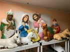 Vintage 9pc Set Nativity Blow Mold With Animals Jesus  Cords Free Ship Camel