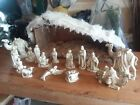 Vtg Christmas 15 piece Holland Mold CSM nativity seen with LG Wooden Manger