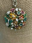Vintage GUESS Flower  Butterfly Pendant on GT Chain Enamel Glass Crystal