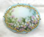 VTG Victorian Pink Flowers Hand Painted Porcelain Pin Brooch Gilded Scrolls