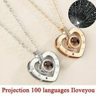 Silver Gold I Love You in 100 Languages Light Projection Pendant Necklace Gift