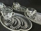 Federal Glass Homestead Hospitality Snack Set Wheat Pattern Set of 4 Vintage