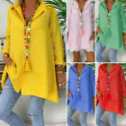 Plus Size Women Roll Up Sleeve Casual Blouse Shirt Tunic Polka Dot Buttons Tops