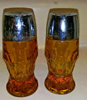 Vtg Set of 2 Indiana Amber  Whitehall  From the 60's Footed Salt~Pepper Shaker