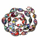 Vintage Venetian Millefiori Art Glass Beads Multi color Beaded Chain Necklace