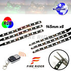 6Pcs 145mm Motors Exterior Wheel RGB LED Lighting Strips For Cagiva Raptor Xtra