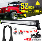 52inch 700W LED Work Light Bar Offroad +Mount Bracket For Jeep Wrangler YJ 87-95