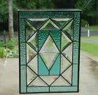Pretty Aqua Stained Glass and Beveled Window Panel
