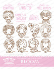 BLOOM KIT The Greeting Farm Cling Mount Rubber Stamp Stamping Craft Flower Bean