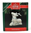 RARE 1991 NEW FOLK ART REINDEER HAND CARVED WOOD HALLMARK CHRISTMAS ORNAMENT WOW