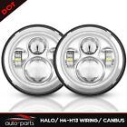 7 Inch Chrome Round LED Headlights DRL Halo For 97 18 Jeep Wrangler JK JKU TJ CJ