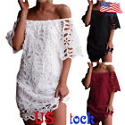 Women Casual Short Sleeve Lace Dress Off Shoulder Loose Summer Evening Party US