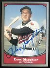 1990 Pacific Enos Slaughter Athletics #50 Signed Baseball Card EX-NM AUTO DJR CO
