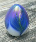 Vandermark Art Glass Pulled Feather Paperweight Iridescent