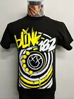 BRAND NEW BLINK 182 WHITE YELLOW SMILEY FACE X EYES ARROWS BLACK ROCK T SHIRT