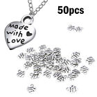 50pcs Made With Love Silver Tone Alloy Heart Charm Crafts Pendants Beads DIY