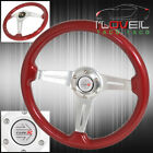 For Nissan 6 Bolt Hole Red Wood Trim Aluminum Streak Design Steerng Wheel Horn