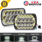 2X 5X7 7x6 Halo LED Clear Projector Headlight For Ford GMC Jeep Cherokee XJ YJ
