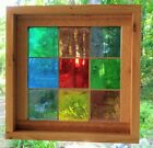Stained Glass Panel Vintage 1964 Mouth Blown German Glass Framed Squares