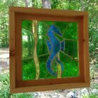 Framed Vintage Mouth Blown Stained Glass Panel Blue Seahorse