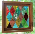Stained Glass Panel Mid Century Mouth Blown Framed Diamonds