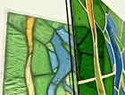 Stained Glass Panel Mid 20th Century Mouth Blown unframed Blue Seahorse