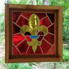 Stained Glass Panel Mid 20th Century Mouth Blown Framed Fluer de Lis