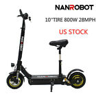 US Ship NANROBOT Electric Scooter D3 with Seat 10 800W Foldable 28MPH 28Miles