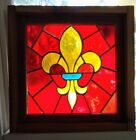Stained Glass Panel Vintage 1964 Mouth Blown German Glass Framed Angelfish