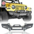 Front Bumper w Winch Plate  LED Lights For 1997 2006 Wrangler Jeep TJ Black