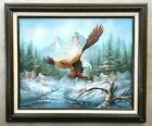 Vintage Original Signed Oil Painting BALD EAGLE Mountain Landscape Waterfall Art