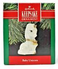 RARE NEW 1990 HALLMARK BABY UNICORN IN PORCELAIN CHRISTMAS ORNAMENT - VERY CUTE