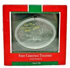 RARE 1989 NEW FIRST CHRISTMAS TOGETHER ACRYLIC ORNAMENT - WINTER SCENE WITH DEER